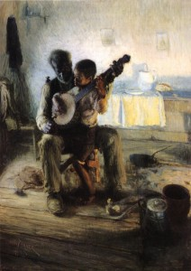 Andy references The Banjo Lesson by Henry Ossowa Tanner in his talk.